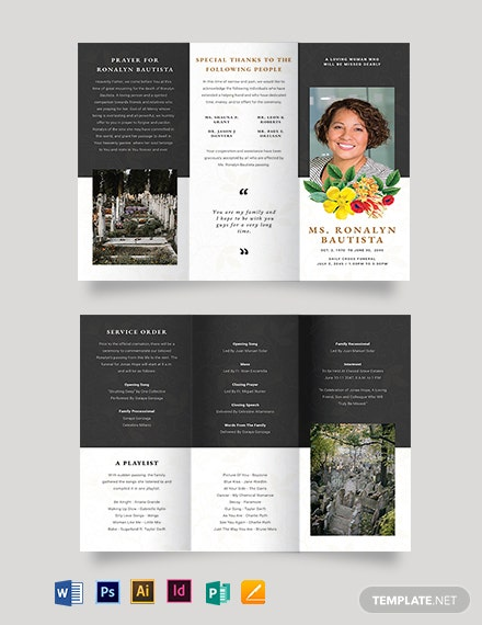 Christian Eulogy Funeral Tri-Fold Brochure Template