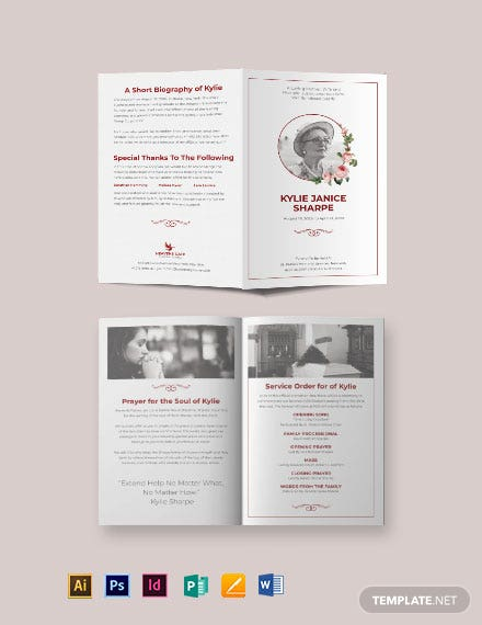 Church Eulogy Funeral Bi-Fold Brochure Template
