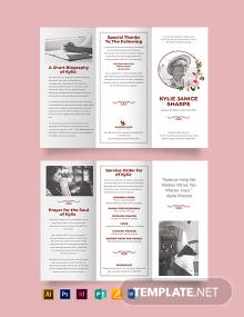 Church Eulogy Funeral Tri-Fold Brochure Template