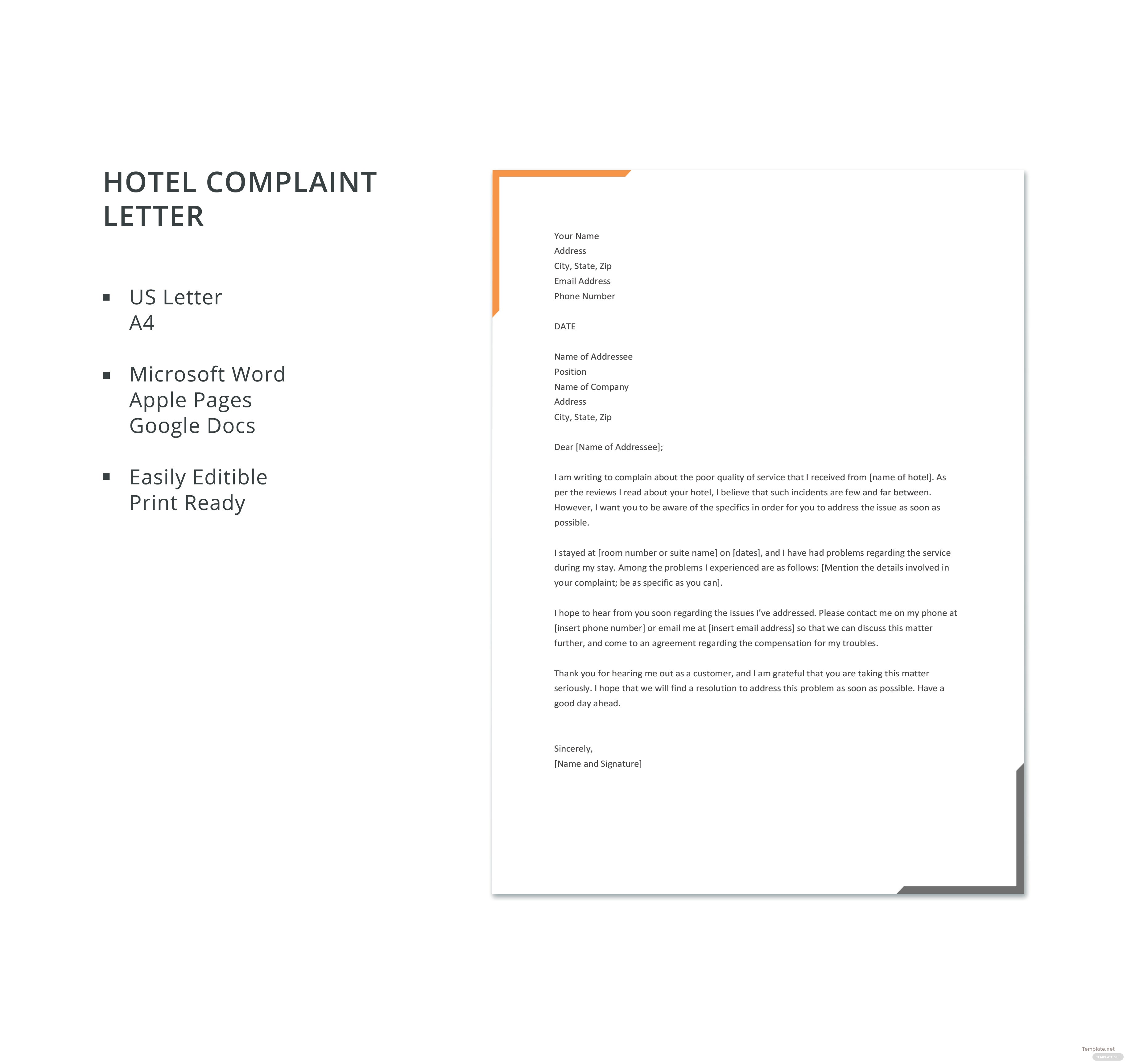 Free hotel complaint letter template in microsoft word apple pages click to see full template hotel complaint letter spiritdancerdesigns Images