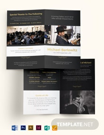 Jewish Eulogy Funeral Bi-Fold Brochure Template