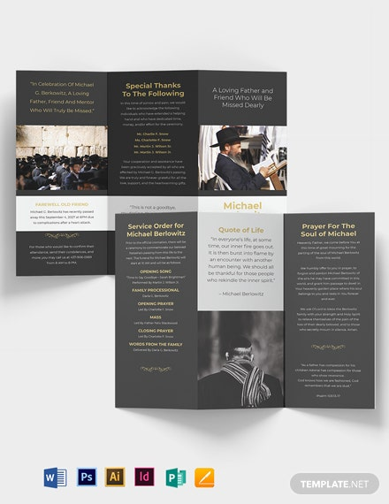 Jewish Eulogy Funeral Tri-Fold Brochure Template