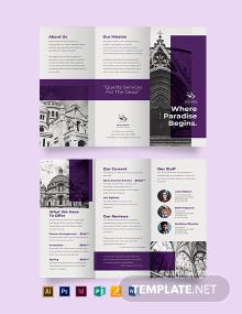 Church Funeral Service Tri-Fold Brochure Template