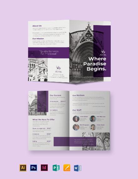 Church Funeral Service Bi-Fold Brochure Template