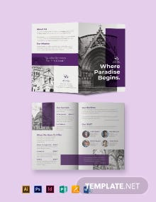 Church Funeral Service Bi-Fold Brochure Template