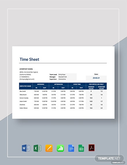 Apple Numbers Timesheet Template