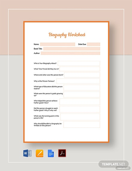 Biography Worksheet Template