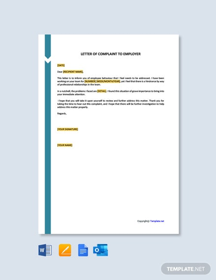 Free Letter of Complaint to Employer Template