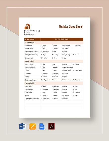 Builder Spec Sheet Template