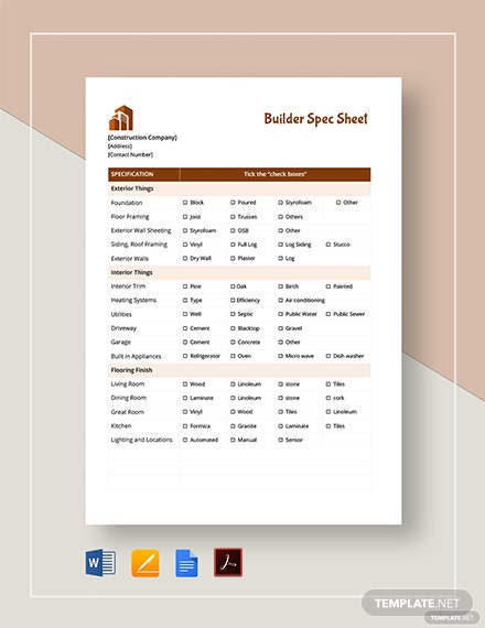 Builder Spec Sheet Template