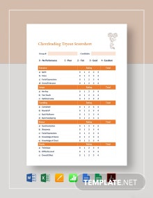 Cheerleading Tryout Score Sheet Template