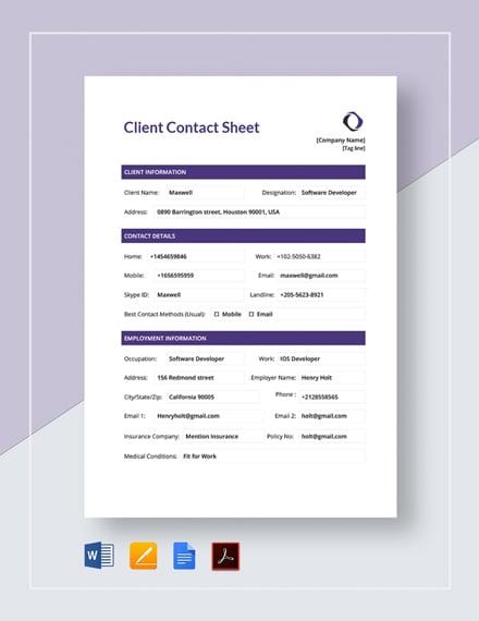 Client Contact Sheet Template