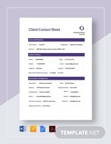 Client Contact Sheet Template