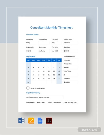 Consultant Monthly Timesheet