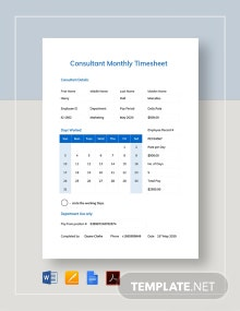 Consultant Monthly Timesheet Template
