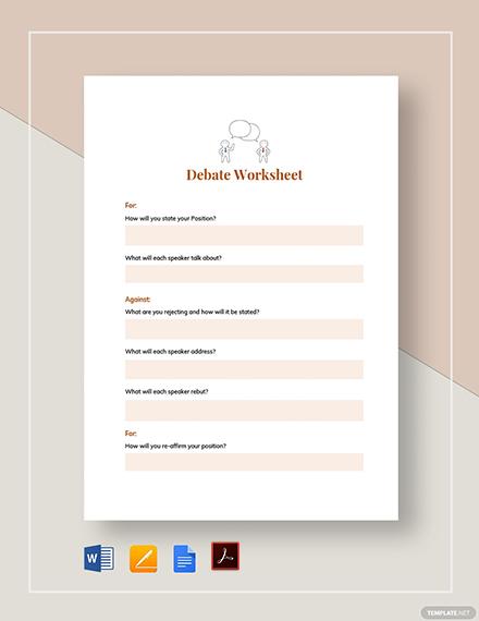Debate Worksheet Example Template