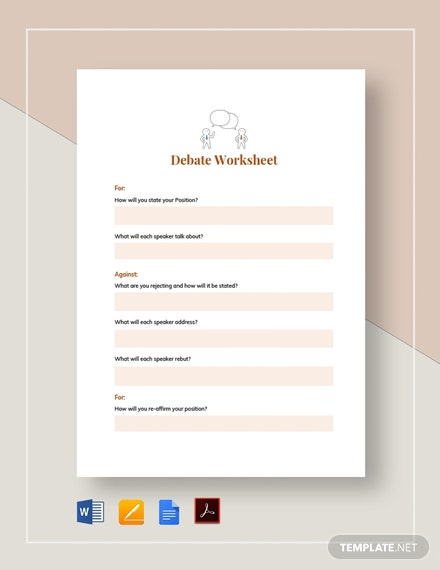 Debate Worksheet Example Template
