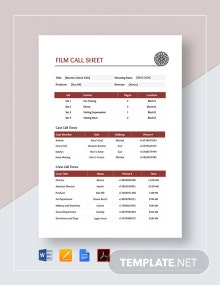 Film Call Sheet Template