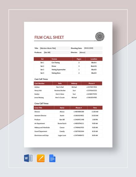 Film Call Sheet Template