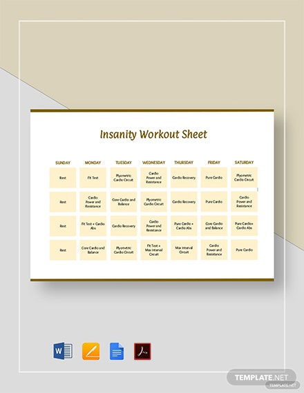 Insanity Workout Sheet Template