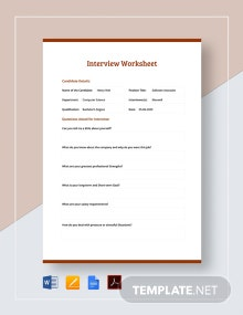 Interview Worksheet Template