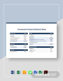 Investment Property Balance Sheet Template