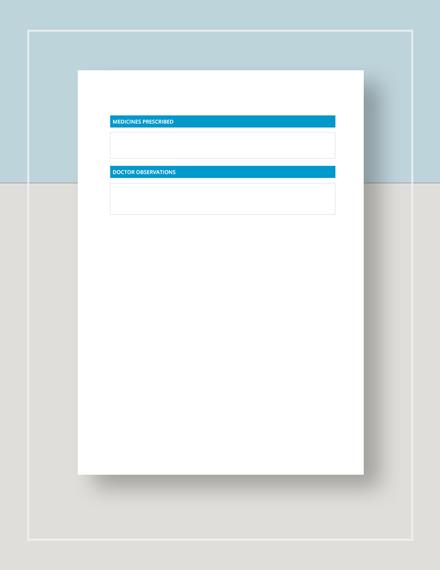 Medical Sheet Template