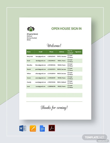 Open House Sign up Sheet Template