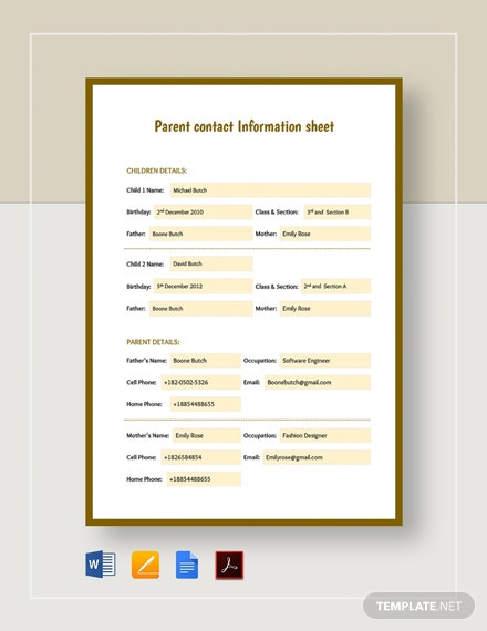 Parent Contact Information Sheet