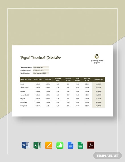 Payroll Timesheet Calculator Template