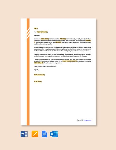 Free Noise Complaint Letter Template