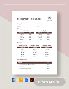 Price Sheet Template for Photography Template