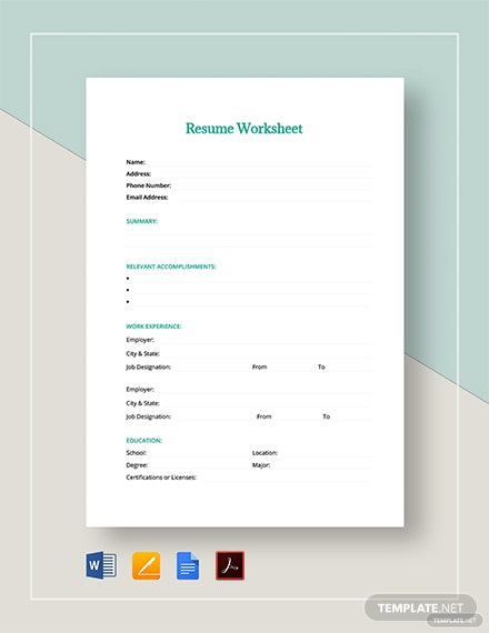 resume worksheet template  download 0  sheets in microsoft