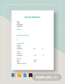 Resume Worksheet Template