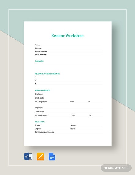 Resume Worksheet Template Download 273 Sheets In Microsoft Word Apple Pages Google Docs