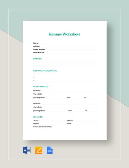 Resume Worksheet Template Download 273 Sheets In Microsoft Word