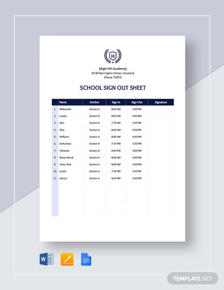 School Sign out Sheet Template