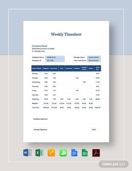 Simple Weekly Timesheet