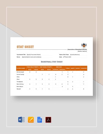 Stat Sheet Template
