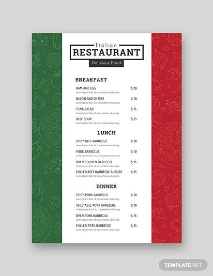free italian menu template in adobe photoshop  microsoft
