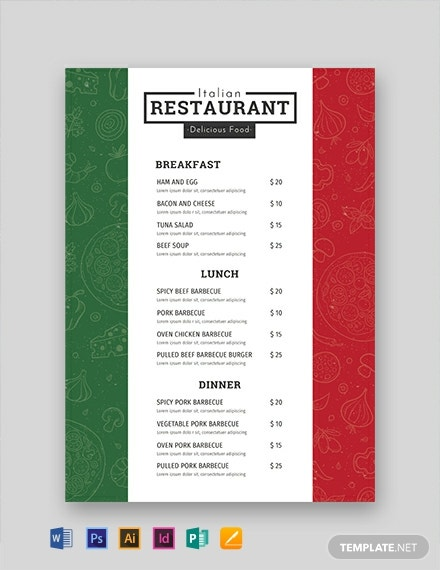 free italian menu template  download 297  menus in psd  word  publisher  indesign  illustrator
