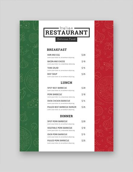 free italian menu template download 36 menus in psd word