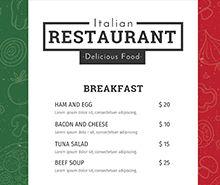 Free Italian Menu Template