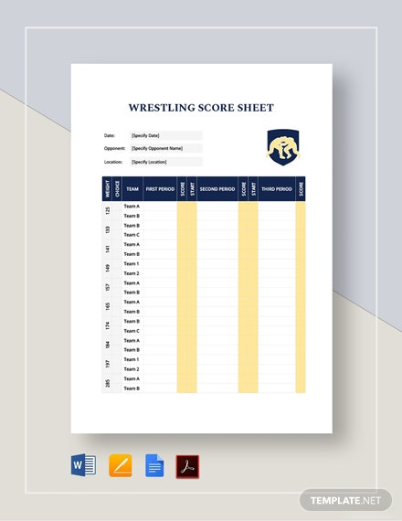 Wrestling Score Sheet Template