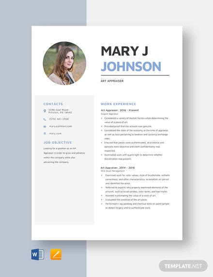 Art Appraiser Resume Template