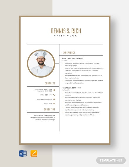 Chief Cook Resume Template
