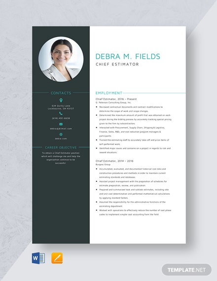 Chief Estimator Resume Template