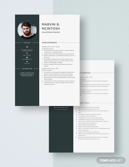 Chauffeur Driver Resume Download
