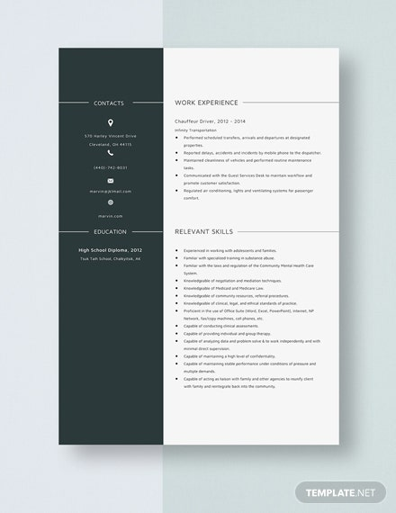 Chauffeur Driver Resume Template