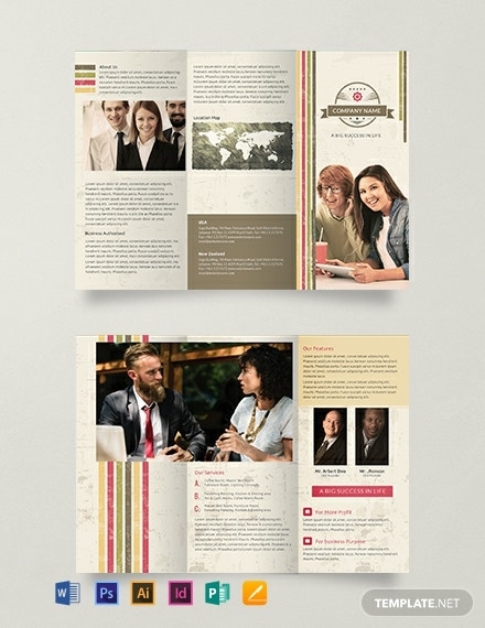 Free Multipurpose Retro Trifold Brochure Template